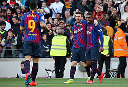 March 30, 2019 - Barcelona, Catalonia, Spain - Leo Messi goal celebration during the match between FC Barcelona and RCD Espanyol, corresponding to the week 29 of the Liga Santander, played at the Camp Nou Stadium, on 30th March 2019, in Barcelona, Spain. (Credit Image: © Joan Valls/NurPhoto via ZUMA Press)