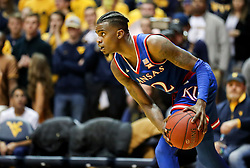 Jan 15, 2018; Morgantown, WV, USA; Kansas Jayhawks guard Lagerald Vick (2) pauses before drubbing the ball up the floor during the second half against the West Virginia Mountaineers at WVU Coliseum. Mandatory Credit: Ben Queen-USA TODAY Sports