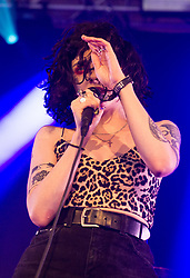 Heather Baron-Gracie of Pale Waves performs on stage on day 1 of Standon Calling Festival on July 27, 2018 in Standon, England. Picture date: Friday 27 July, 2018. Photo credit: Katja Ogrin/ EMPICS Entertainment.
