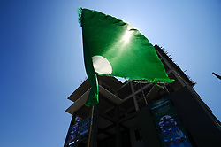 April 30, 2017 - Alor Setar, Malaysia - A Pan-Malaysian Islamic Party (PAS) flag fluttering in front of the building during the 63rd Pan-Malaysian Islamic Party (PAS) Annual General Assembly (Muktamar) at Kedah PAS Complex in Alor Setar, Kedah, Malaysia  on April 30, 2017. The 63rd Muktamar is a platform to plan a strategy for incoming 14th general election and decide to break ties with PKR after the Islamic party no longer in coalition with Pakatan Harapan which comprises with DAP, PKR, Parti Amanah Negara (PAN) and Parti Pribumi Bersatu Malaysia (Bersatu) after DAP and PKR oppose the Private Members Bill by PAS President, Abdul Hadi Awang to amend the Syariah law act in parliament in this month. (Credit Image: © Muhammad Shahrizal/NurPhoto via ZUMA Press)