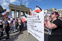 """29 AUG 2020, BERLIN/GERMANY:<br /> Menschen demonstrieren für einen Friedenvertrag zwischen Deutschland, den USA und Russland, einen Systemwechsel und Souverenität fuer Deutschland, vor der US-Botschaft, Demonstration gegen die Einschraenkungen in der Corona-Pandemie durch die Initiative """"Querdenken 711"""" aus Stuttgart unter dem Motto """"invites Europa - Fest für Freiheit und Frieden"""", Unter den Linden/Pariser Plastz/Friedrichstrasse<br /> IMAGE: 20200829-01-044<br /> KEYWORDS: Demo, Protest, Demosntranten, Protester, COVID-19, Corona-Demo"""