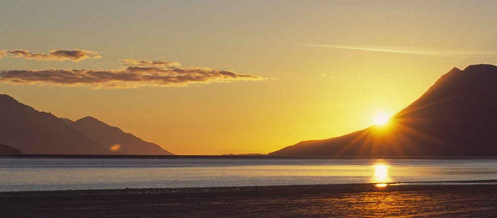 Tidal Flats from Bird Valley, Looking North on Turnagain Arm in Autumn at sunset.