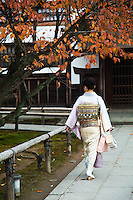 Kimono at Kodaiji Temple where there are several formal gardens designed by Kobori Enshu, who was an architect and master Zen gardener, as well as a master of calligraphy, poetry, and tea ceremony.  Because of this devotion to tea ceremony there are three tea ceremony houses, within the gardens as well as a teahouse that is open to the public on its grounds.
