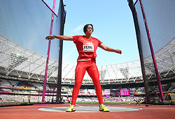 China's Bin Feng competes in the Women's Discus Throw Qualifying during day eight of the 2017 IAAF World Championships at the London Stadium