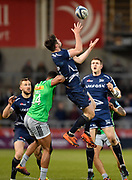 Sale Sharks full back Luke James collects a high ball during a Gallagher Premiership match at the AJ Bell Stadium, Eccles, Greater Manchester, United Kingdom, Friday, April 5, 2019. (Steve Flynn/Image of Sport)