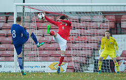 WREXHAM, WALES - Thursday, November 10, 2016: Wales' Regan Poole in action against Takis Retsos  of Greece during the UEFA European Under-19 Championship Qualifying Round Group 6 match at the Racecourse Ground. (Pic by Gavin Trafford/Propaganda)
