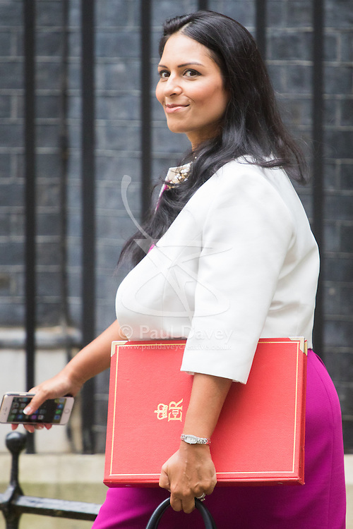 Downing Street, London, September 9th 2016.  International Development Secretary Priti Patel arrives at Downing street for the weekly cabinet meeting following the Parliamentary summer recess.