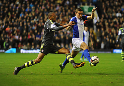 Stoke City's Steven N'Zonzi fouls Birmingham City's Oliver Lee -  - Photo mandatory by-line: Alex James/JMP - Tel: Mobile: 07966 386802 29/10/2013 - SPORT - FOOTBALL - ST Andrew's - Birmingham - Birmingham City v Stoke City - Capital One Cup - Forth Round
