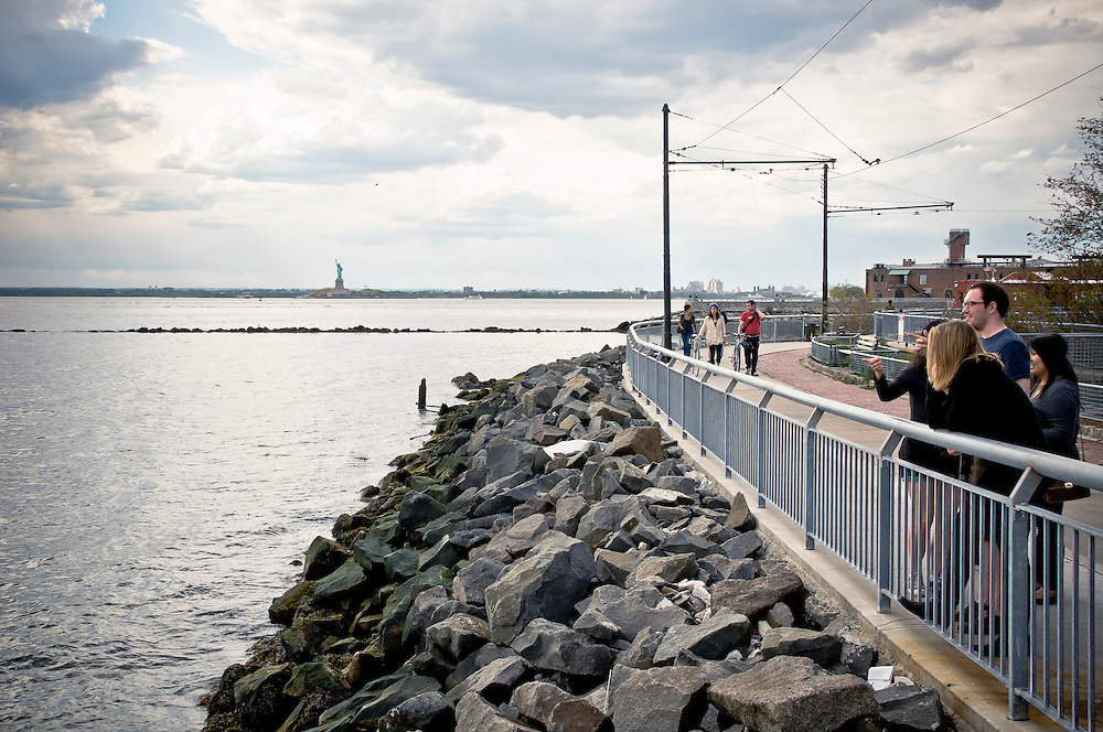 The Red Hook's waterfront with the view on Liverty Statue, Brooklyn