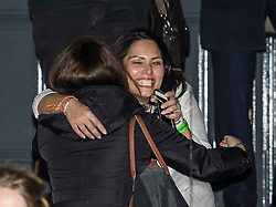 © Licensed to London News Pictures. 13/12/2019. London, UK. Home secretary PRITI PATEL celebrates as she leaves  Conservative Campaign Headquarters after the Conservative party achieved a majority in the General Election. A general election was called for December 12th following a deadlock in Parliament over the UK's decision to leave the EU. Photo credit: Ben Cawthra/LNP