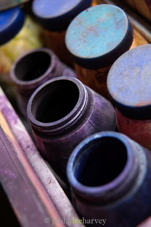 Dye's for Batik printing, Batik Printing blocks, Yogyakarta, Yogyakarta Special Region, Java, Indonesia, Southeast Asia