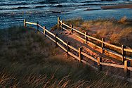 Au Train Beach catches some warm sunlight during golden hour - Michigan's Upper Peninsula.