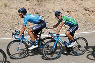 manol Erviti (ESP - Movistar) , Alejandro Valverde (ESP - Movistar) green jersey, during the UCI World Tour, Tour of Spain (Vuelta) 2018, Stage 8, Linares - Almaden 195,1 km in Spain, on September 1st, 2018 - Photo Luis Angel Gomez / BettiniPhoto / ProSportsImages / DPPI