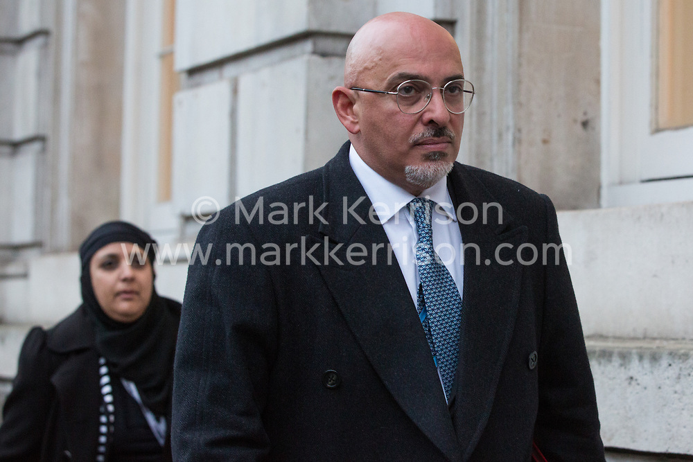 London, UK. 12 November, 2019. Nadhim Zahawi, Conservative PPC for Stratford on Avon, arrives at the Cabinet Office for an emergency Cobra committee meeting convened to discuss the Government's response to devastating flooding in the north of England. According to BBC reports, 39 flood warnings remained in place last night, including five severe warnings affecting the River Don in South Yorkshire.
