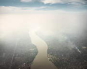 Visible air Pollution hangs over the city.<br /> Calcutta, India