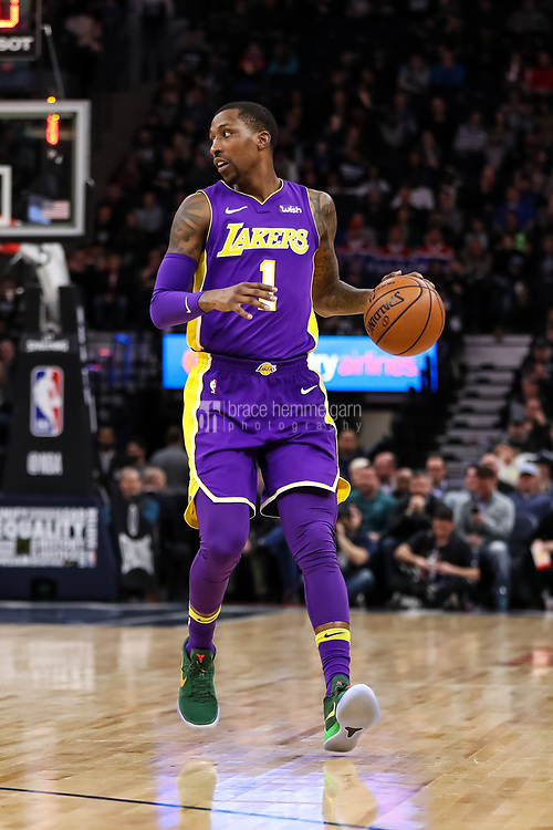 Feb 15, 2018; Minneapolis, MN, USA; Los Angeles Lakers guard Kentavious Caldwell-Pope (1) during a game between the Minnesota Timberwolves and Los Angeles Lakers at Target Center. Mandatory Credit: Brace Hemmelgarn-USA TODAY Sports
