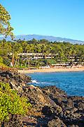 Kaunaoa Beach, Mauna Kea Beach and Resort, Mauna Kea in Background, Kohala Coast, Island of Hawaii