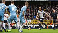 Football - 2016 / 2017 Premier League - Tottenham Hotspur vs. Stoke City<br /> <br /> Harry Kane of Tottenham strikes the ball at White Hart Lane.<br /> <br /> COLORSPORT/DANIEL BEARHAM