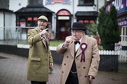 © Licensed to London News Pictures . 28/01/2017 . Stoke-on-Trent , UK . PAUL NUTTALL and Winston Churchill impersonator outside the shop . UKIP formally launch their campaign in the by-election in the constituency of Stoke-on-Trent Central , at their new campaign shop at 1 Piccadilly in Stoke , with candidate - and party leader - Paul Nuttall . The seat was vacated when Tristram Hunt resigned . Photo credit : Joel Goodman/LNP