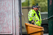 Leicester, United Kingdom, May 21, 2021: A general view shows a police officer standing to guard in the occupied building of Israeli-owned weapons manufacturing plant in the city of Leicester United Kingdom, on Friday, May 21, 2021. (Photo by Vudi Xhymshiti)