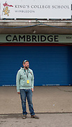 London,  England, Great Britain, 7th April 2019, Cambridge Men's Chief Coach Rob BAKER, outside the Boathousen on Putney Hard, Oxford and Cambridge Universities Men's Varsity, Boat Race, Championship Course, Putney to Mortlake, River Thames,<br /> [Mandatory Credit: Karon PHILLIPS], Sunday  07/04/2019