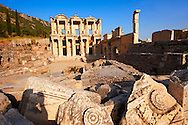 Photo & picture of The library of Celsus. Images of the Roman ruins of Ephasus, Turkey. Stock Picture & Photo art prints 4 .<br /> <br /> If you prefer to buy from our ALAMY PHOTO LIBRARY  Collection visit : https://www.alamy.com/portfolio/paul-williams-funkystock/ephesus-celsus-library-turkey.html<br /> <br /> Visit our TURKEY PHOTO COLLECTIONS for more photos to download or buy as wall art prints https://funkystock.photoshelter.com/gallery-collection/3f-Pictures-of-Turkey-Turkey-Photos-Images-Fotos/C0000U.hJWkZxAbg