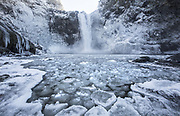 As the cold weather persists, spray from Snoqualmie Falls forms icicles on the cold rock walls surrounding the falls with the base pool filled with chunks of ice. In the morning when only a small patch of sunlight hits the upper rim, the surrounding area stays in a very cold shade. (Steve Ringman / The Seattle Times)