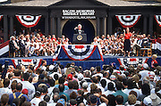 President Bill Clinton speaks to supporters during a campaign stop for his re-election August 27, 1996 in Wayandotte, MI