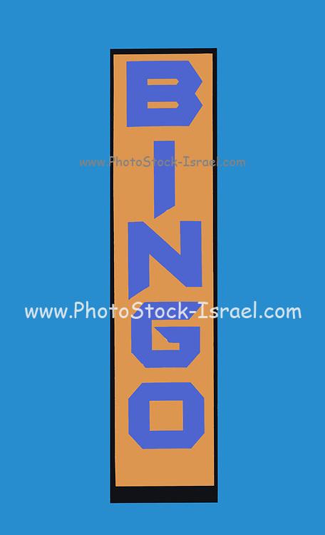 Illustration of a BINGO sign on a sky blue background