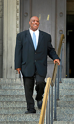 16 March 2015. New Orleans, Louisiana.<br /> Criminal defense attorney Robert Jenkins outside Orleans Parish Criminal District Court.<br /> Photo; Charlie Varley/varleypix.com