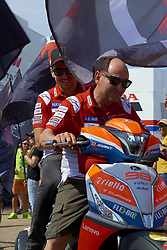 September 21, 2018 - Alcaniz, Teruel, Spain - Jorge Lorenzo (99) of Spain and Ducati Team  under the flag of his suportters during free practice for the Gran Premio Movistar de Aragon of world championship of MotoGP at Motorland Aragon Circuit on September 21, 2018 in Alcaniz, Spain. (Credit Image: © Jose Breton/NurPhoto/ZUMA Press)