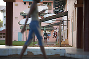 Satellite dishes in a ghetto housing estate in town of Kourou in French Guiana, home of the European Space Agency's Spaceport.