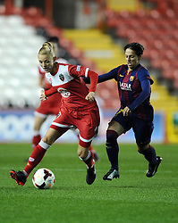 Bristol Academy Womens' Sophie Ingle battle for possession FC Barcelona's Gema Gili  - Photo mandatory by-line: Joe Meredith/JMP - Mobile: 07966 386802 - 13/11/2014 - SPORT - Football - Bristol - Ashton Gate - Bristol Academy Womens FC v FC Barcelona - Women's Champions League