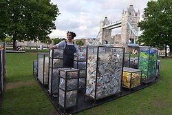 August 31, 2017 - London, London, United Kingdom - Image ©Licensed to i-Images Picture Agency. 31/08/2017. London, United Kingdom. Thames plastic debris art installation. ..Artist Maria Arceo unveils installation 'Future Dust' at Potters Field, London. The artwork is made from plastic debris recovered from 40 beaches along the tidal Thames down to the Estuary and will to tour different locations in London and illuminated at dusk by Dutch artist  Tim Scheffer.300 tonnes of rubbish is removed from the Thames each year. Picture by Howard Jones / i-Images (Credit Image: © Howard Jones/i-Images via ZUMA Press)