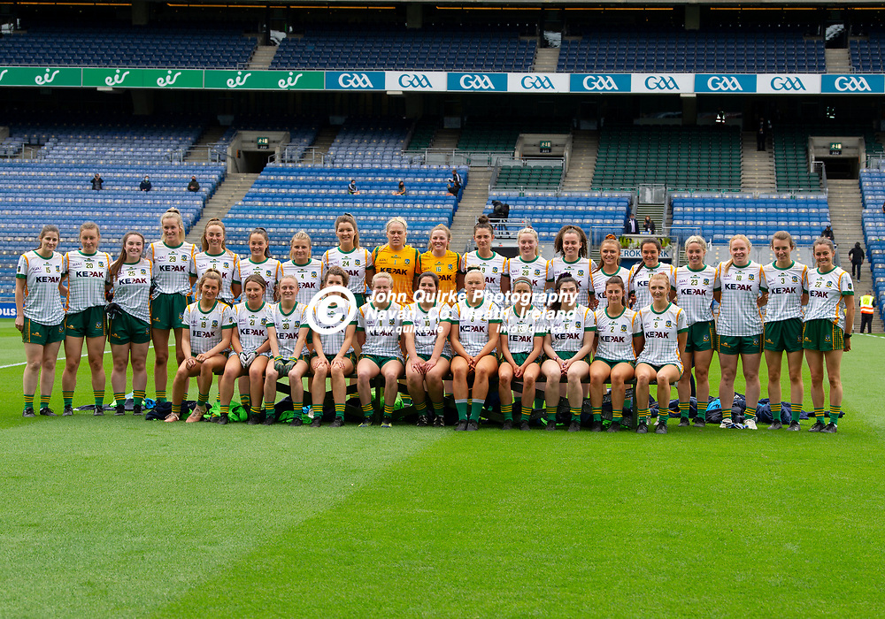 26-06-21. Meath v Kerry - Lidl Ladies National Football League Division 2 Final at Croke Park.<br />The Meath panel panel which defeated Kerry L to R.<br />Back: Bridgetta Lynch, Ali Sherlock, Meadhbh Byrne, Aisling McCabe, Aoibhin Cleary, Olivia Gore, Katie Newe, Kate Byrne, Monica McGuirk, Ali O'Sullivan, Maire O'Shaughnessy, Orlagh Lally, Emma Duggan, Ailbhe Leahy, Niamh Gallogly, Emma White, Sarah Powderley, Mary Kate Lynch, Aine Sheridan.<br />Front: Caragh Monaghan, Aoife Farrell, Megan Thynne, Orla Byrne, Stacey Grimes, Shauna Ennis (Capt), Vikki Wall, Niamh O'Sullivan, Shelly Melia, Emma Troy and Aoibheann Leahy.<br />Photo: John Quirke / www.quirke.ie<br />©John Quirke Photography, 16 Proudstown Road, Navan. Co. Meath. (info@quirke.ie / 046-9028461 / 087-2579454).