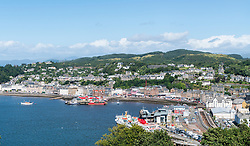 View over town of Oban in Argyll and Bute, Scotland, United Kingdom