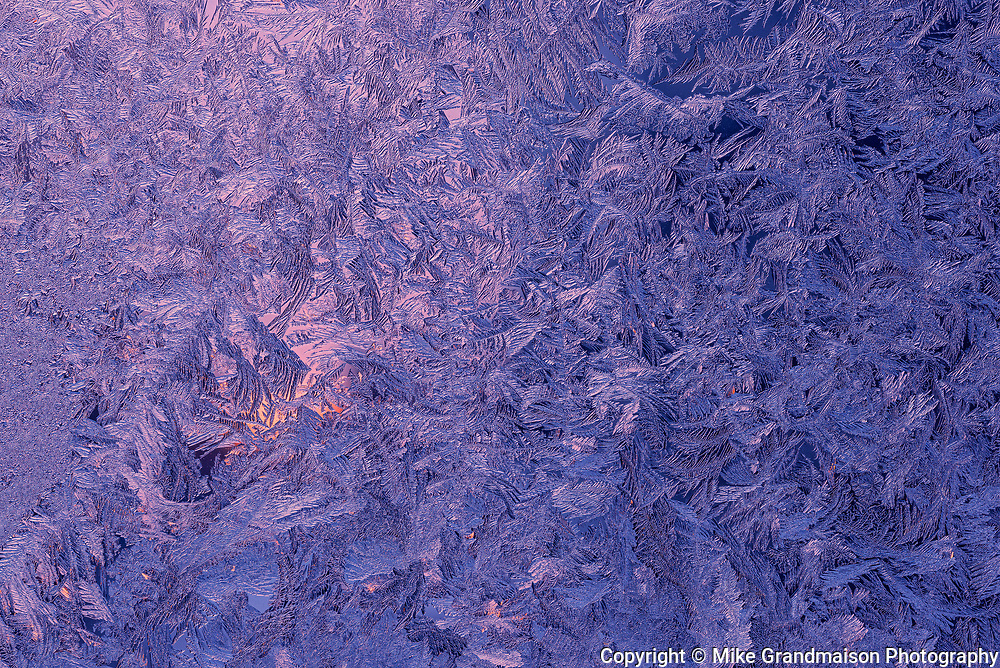 Window frost patterns. Winnipeg, Manitoba. Canada