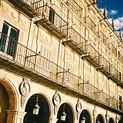 Sunlight over one of the facades of Salamanca's Plaza Mayor