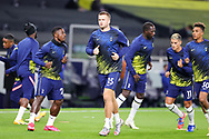 Tottenham Hotspur midfielder Eric Dier (15) warms up during the EFL Cup Fourth Round match between Tottenham Hotspur and Chelsea at Tottenham Hotspur Stadium, London, United Kingdom on 29 September 2020.