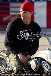 Bryan Fuller on his Righteous Fueller custom 2006 Buell XB9 at the Handbuilt Show. Austin, TX. USA. Thursday April 19, 2018. Photography ©2018 Michael Lichter.