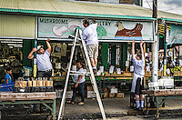 In the Italian Market section of Philadelphia, the method of hanging a sign shows the get it done approach that exemplifies the attitude of the people in Phlly.