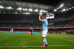 February 23, 2019 - Melbourne, VIC, U.S. - MELBOURNE, VIC - FEBRUARY 23: Melbourne City defender Scott Jamieson (3) prepares for a throw in at round 20 of the Hyundai A-League Soccer between Melbourne City FC and Melbourne Victory on February 23, 2019 at Marvel Stadium, VIC. (Photo by Speed Media/Icon Sportswire) (Credit Image: © Speed Media/Icon SMI via ZUMA Press)