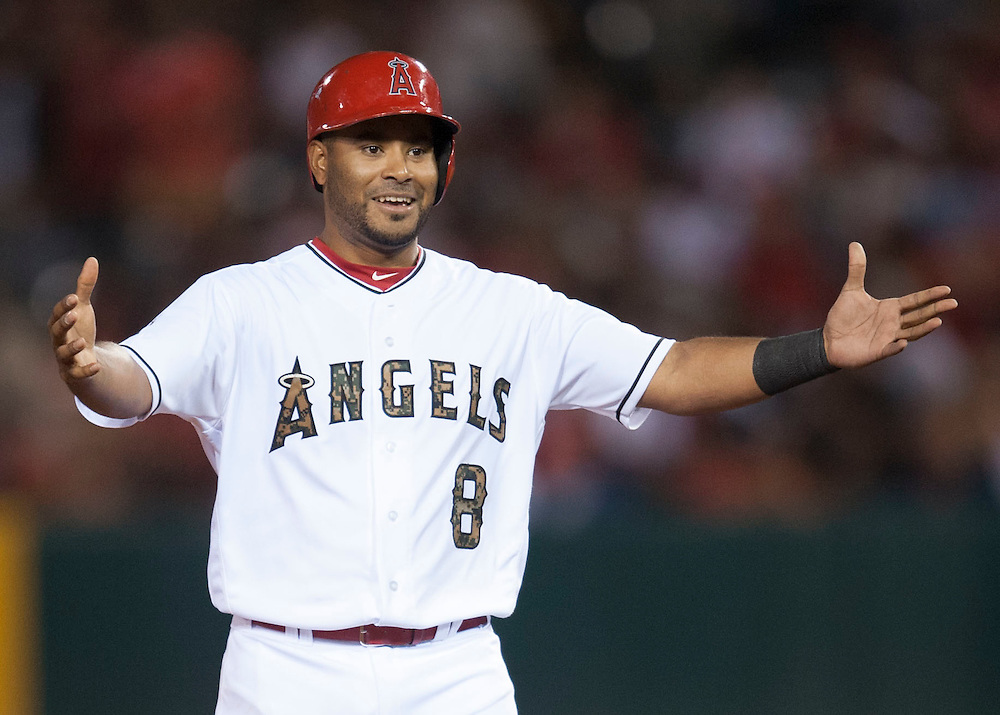 The Angels' Gregorio Petit celebrates after his two RBI single in the eighth inning during the Angels' 5-1 victory over the Detroit Tigers Monday at Angel Stadium.<br /> <br /> ///ADDITIONAL INFO:   <br /> <br /> angels.0531.kjs  ---  Photo by KEVIN SULLIVAN / Orange County Register  -- 5/30/16<br /> <br /> The Los Angeles Angels take on the Detroit Tigers Monday at Angel Stadium.