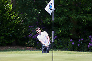 Michael Carrick chips out of a bunker during the Celebrity Pro-Am day at Wentworth Club, Virginia Water, United Kingdom on 23 May 2018. Picture by Phil Duncan.
