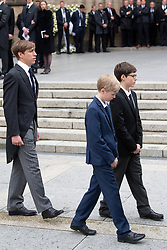 Prince Louis of Luxembourg and sons Gabriel and Noah of Luxembourg get out the cathedral Notre-Dame after the funeral of Grand Duke Jean of Luxembourg on May 4, 2019 in Luxembourg City, Luxembourg.<br /> Grand Duke Jean of Luxembourg has died at 98, April 23, 2019.<br /> (Photo by David Niviere/ABACAPRESS.COM)