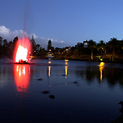 Dusk shot of coloured  lake fountain at Virginia Lake Park, Virginia Hill,  Wanganui. 28th December 2010. Photo Tim Clayton