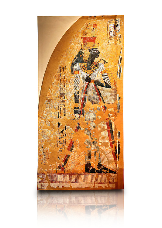 Egyptian painting on stucco of the defied queen Ahmose-Nofretari. 11152-1145BC, Thebes, Grab Nr 359. Neues Reiche Museum, Berlin. Cat No AM2060 .<br /> <br /> If you prefer to buy from our ALAMY PHOTO LIBRARY  Collection visit : https://www.alamy.com/portfolio/paul-williams-funkystock/ancient-egyptian-art-artefacts.html  . Type -   Neues    - into the LOWER SEARCH WITHIN GALLERY box. Refine search by adding background colour, subject etc<br /> <br /> Visit our ANCIENT WORLD PHOTO COLLECTIONS for more photos to download or buy as wall art prints https://funkystock.photoshelter.com/gallery-collection/Ancient-World-Art-Antiquities-Historic-Sites-Pictures-Images-of/C00006u26yqSkDOM