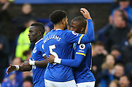 Enner Valencia of Everton (r) celebrates with his teammate Ashley Williams after scoring his teams 2nd goal. Premier league match, Everton v Hull city at Goodison Park in Liverpool, Merseyside on Saturday 18th March 2017.<br /> pic by Chris Stading, Andrew Orchard sports photography.