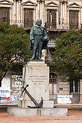 Statue of Jose (Giuseppe) Garibaldi Jefe de las Fuerzas Navales de la Republica 1842 - 1848, Chief of the naval forces of the Republic Head of the Navy in a square in the harbour harbor port in Montevideo, Uruguay, South America