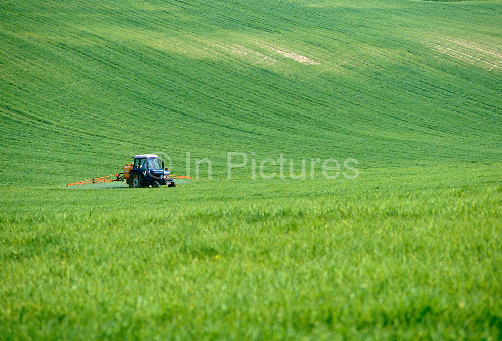 A lone farmer drives his Ford tractor across the expanse of a green English field. Using wide arms mounted on the rear,  chemicals reach out to cover a wide surface area, spraying what are possibly pesticides onto growing crops, the mechanised machine passes over the grasses of cereals that are thriving and maturing on this summer's day. The land rises up behind the farmer, a steeper escarpment of the landscape in the county of Kent - a fertile region of souther-eastern Britain, otherwise known as the Garden of England.